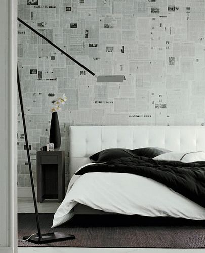 Wallpaper ideas: Newspaper + black + white bedroom by xJavierx, via Flickr