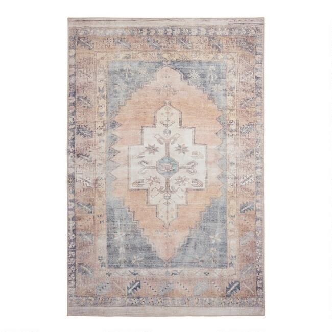Blush And Blue Persian Style Chelsea Area Rug 5 X 8 By World