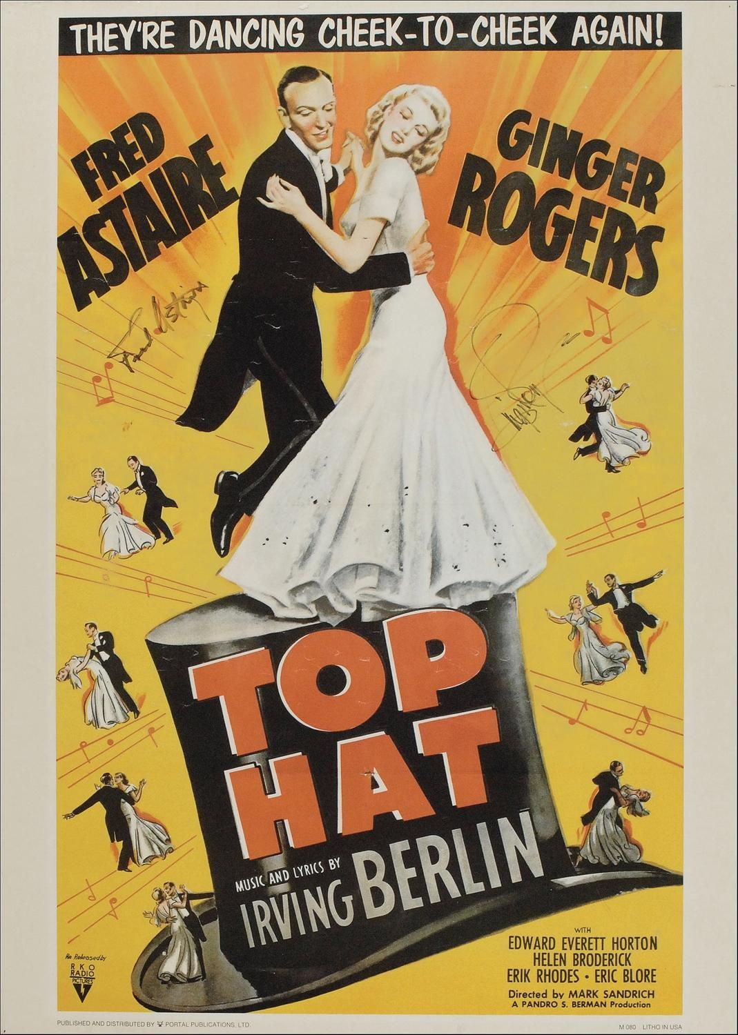 Fred Astaire And Ginger Rogers Movie Posters Vintage Movies Top Hat 1935