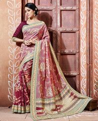Pink & Red Color Bhagalpuri Party Wear Sarees : Tashvi Collection YF-32656