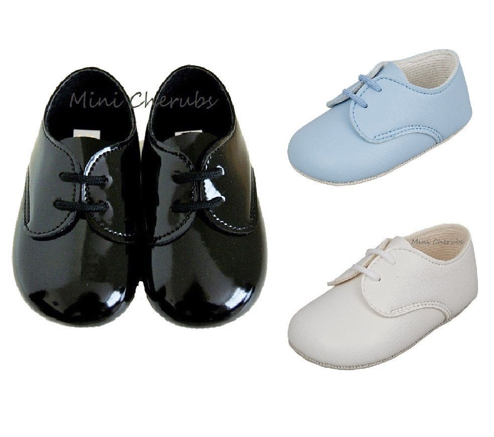 BABY BOY PATENT SOFT SHOES CHRISTENING WEDDING SMART FORMAL PARTY Light Blue