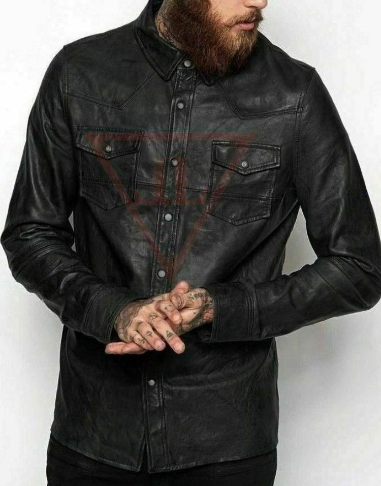 Men/'s Black Soft Genuine  Leather Full Sleeve Button up Shirt  All Sizes