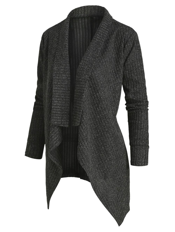 [35% OFF] 2019 Plus Size Cardigan Chiné Drapée Sur Le Devant En Gris Foncé   ... 4