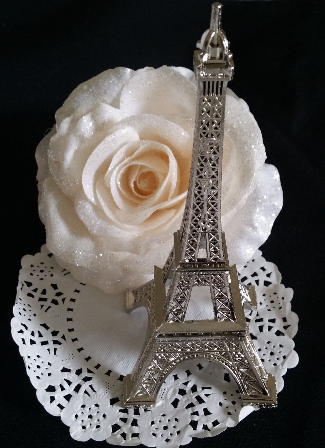 Wedding cake topper antique look silver eiffel tower decoration