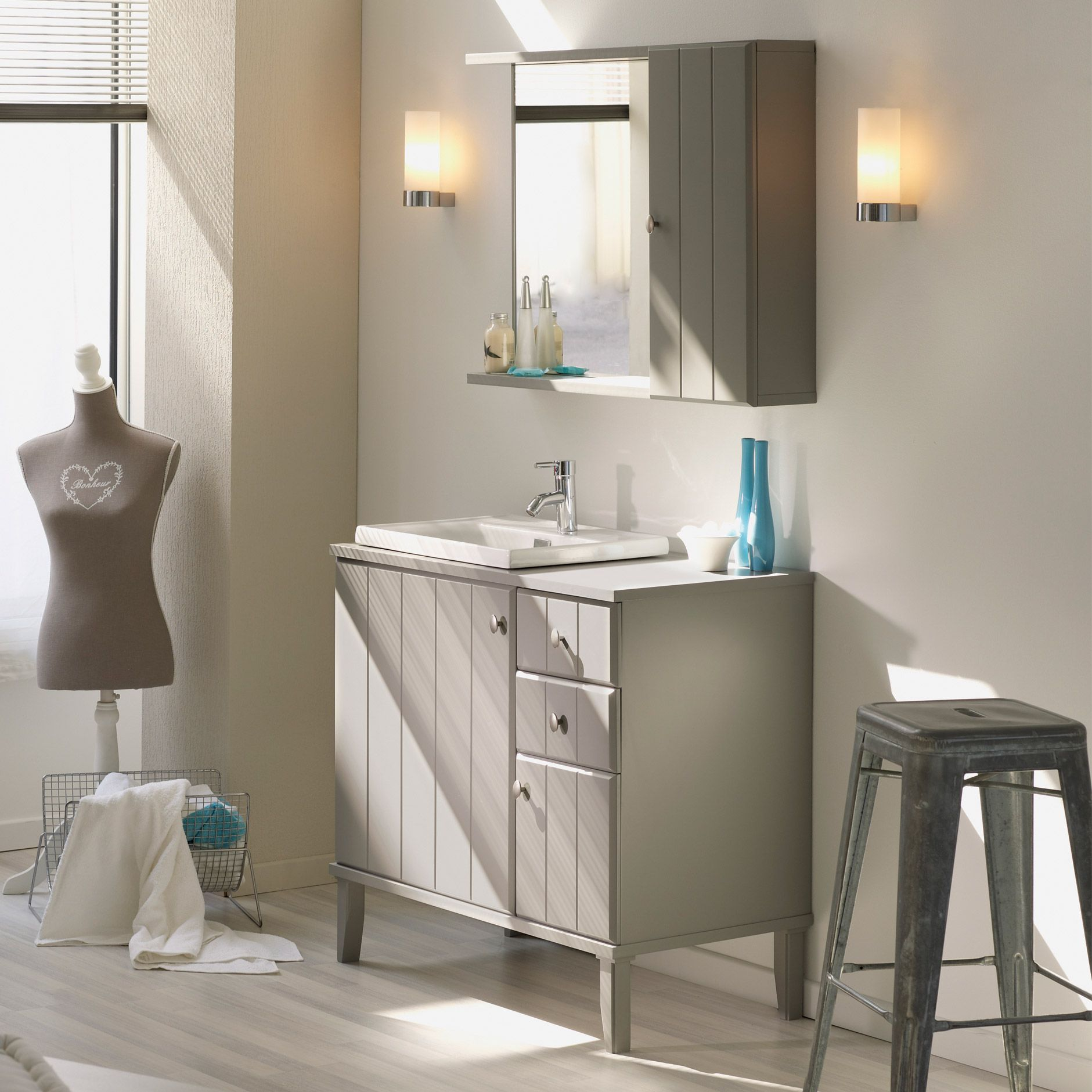 Meuble vasque 2 portes 2 tiroirs armoire de toilette