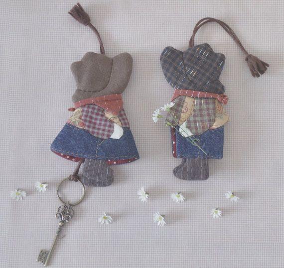 How to make set of cowboy key cover keyring fabric Felt embroidery ... : key cover quilt - Adamdwight.com