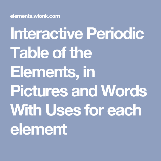 Interactive periodic table of the elements in pictures and words interactive periodic table of the elements in pictures and words with uses for each element urtaz Gallery