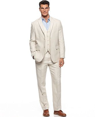 Perry Ellis Suit, Linen Herringbone Three Piece Suit - Mens Suits & Suit  Separates -