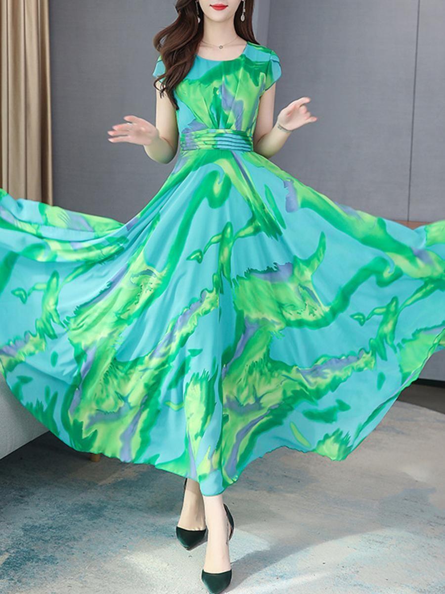 Berrylook Womens Berrylook Fashion Short Sleeve Waist Print Maxi Dress Graceq Com Chiffon Summer Dress Pink Chiffon Maxi Dress Print Chiffon Maxi Dress [ 1200 x 900 Pixel ]