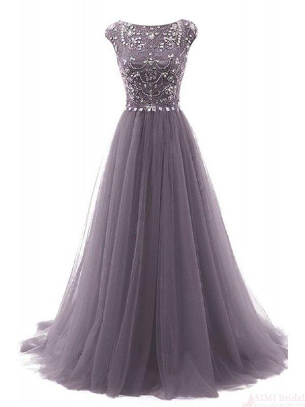 Gorgeous Beading Bodice Long Tulle Prom Dresses Evening Dresses ...