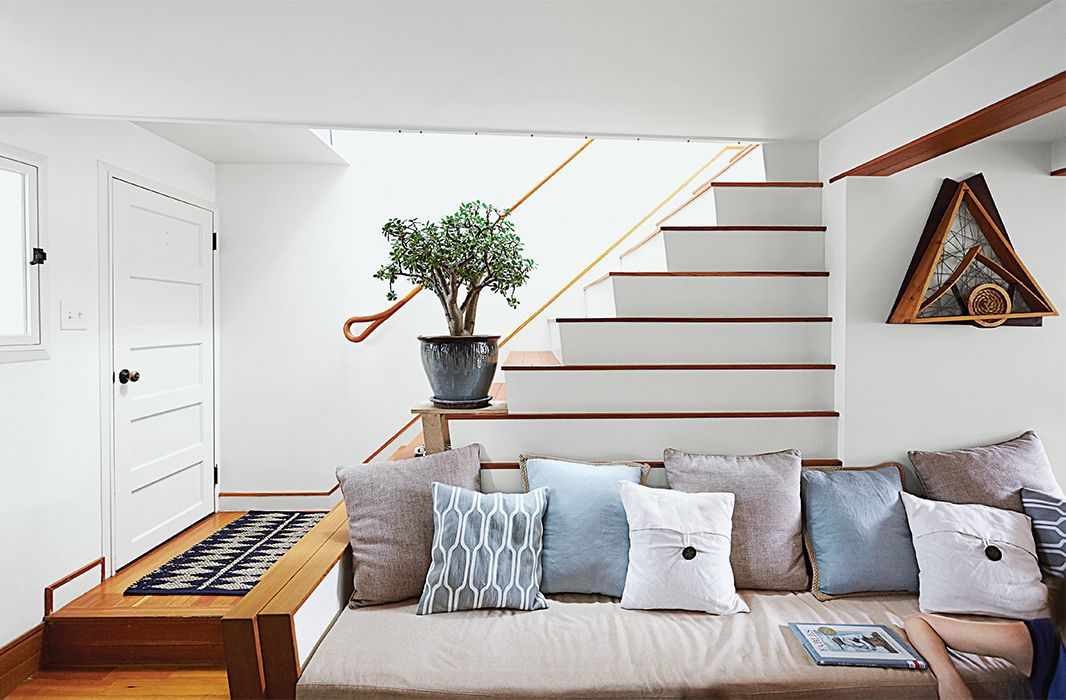 Photo 2 Of 10 In Run Down Row House In Boston Becomes A Quiet Urban Stairs In Living Room Coastal Living Rooms Small Living Rooms