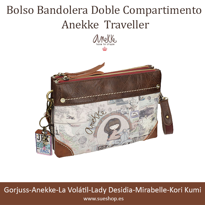 Bolso Anekke Traveller Anekke Compartimento Bandolera Doble zzF8qvf