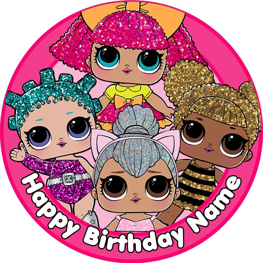 Edible Lol Surprise Dolls Birthday Party Cake Topper Wafer Paper 7 5 Uncut Cake Decoration Decoration Decorations Decor Diy Idea Ide Prints Afbeeldingen Lol