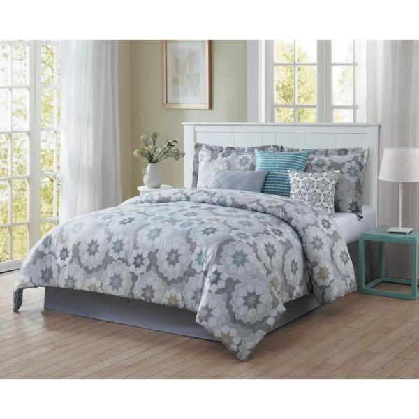 Splendid 7 Piece Blue Grey White Black Gold Queen Comforter Set Ymz008010 In 2020 Comforter Sets Contemporary Bed Sets Comforters