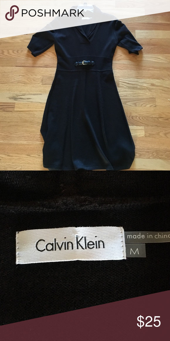 Calvin Klein- black knit dress- M Beautiful and Classic black knit dress by Calvin Klein- perfect for work or fun occasion- look great with boots- 3/4 length sleeve- 40 inch length- great condition as only worn once or twice- from smoke free home Calvin Klein Dresses Midi