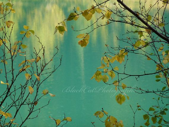 Scenic lake photograph blue green teal by BlackCatPhotographs, $30.00