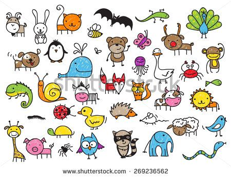 Cute Children S Drawing Style Animals Collection Childrens