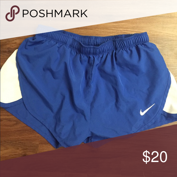 Nike running shorts Blue running shorts; worn and washed a few times. Selling because they are too short for me! Nike Shorts