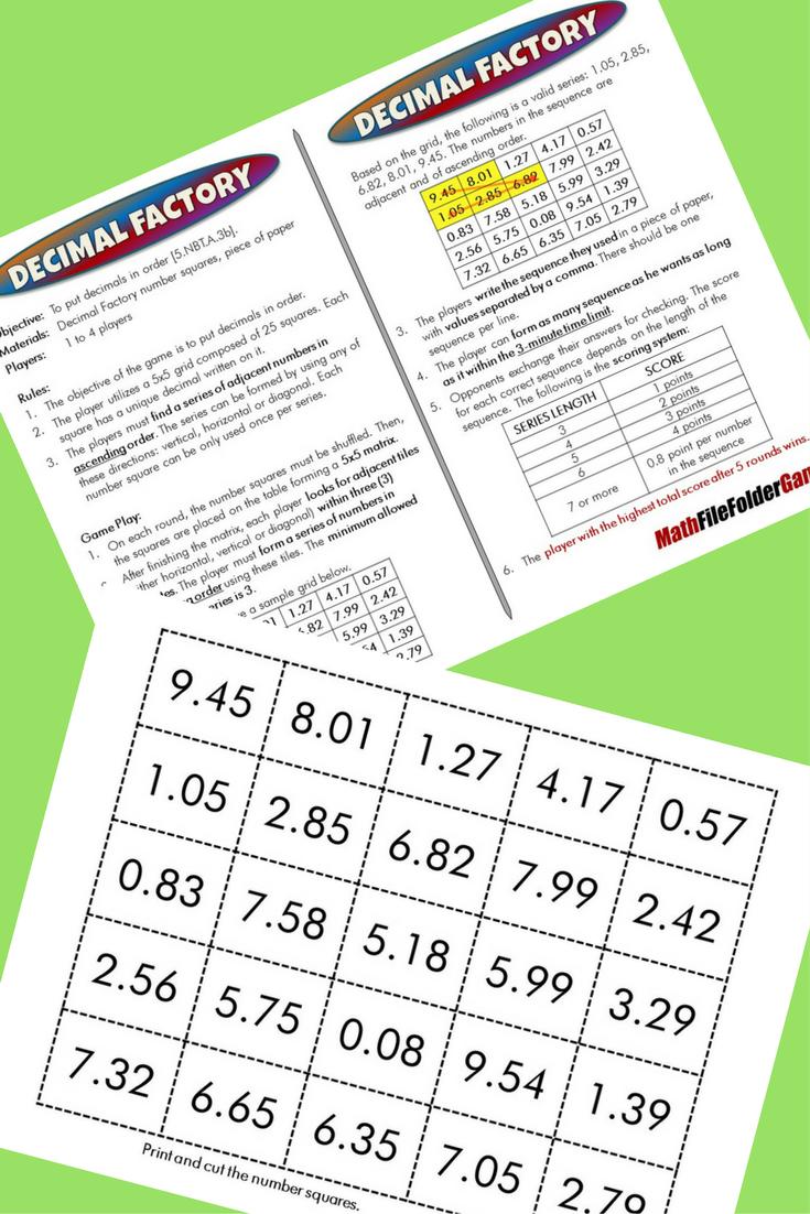 5th Grade File Folder Math Games Math Number Sense Math Games Math [ 1102 x 735 Pixel ]