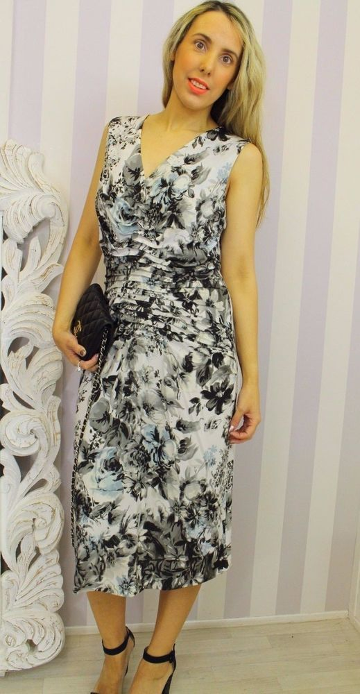 14e3a3bb5fcf Escada Pleated Floral Signed Flattering Gathered Ruched Pencil Midi dress 40