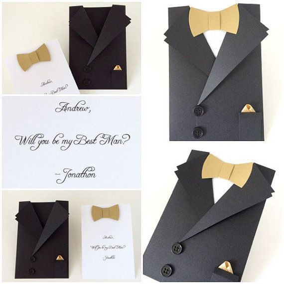 Tuxedo Card Bow Tie Card Mens Suit Shaped by CallMeCraftie