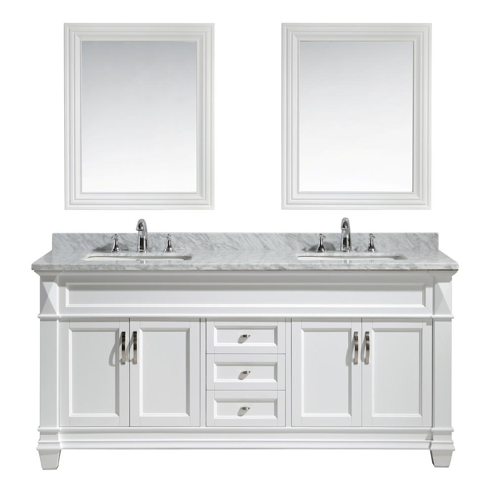 Design Element Hudson 72 In W X 22 In D X 35 In H Vanity In White With Marble Vanity Top In Carrara White Basin And Mirror Vanity Bathroom Sink Vanity Carrara Marble Countertop