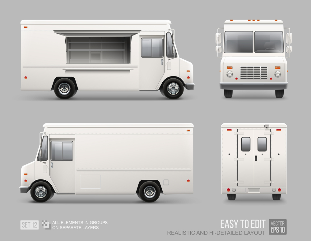 White Food Truck Hidetailed Vector Template Food Truck White Food Trucks