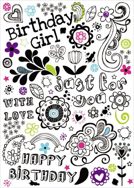 Greeting card to send birthday wishes for a tween girls birthday floral illustrations birthday card m4hsunfo Gallery