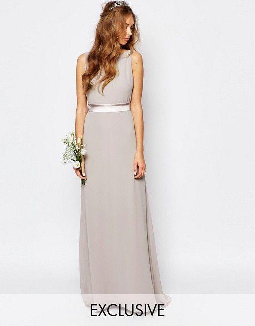 TFNC Sateen Bow Back Maxi Bridesmaid Dress | Asos de, Blumenmädchen ...