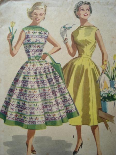 Patron gratuit robe femme annee 50