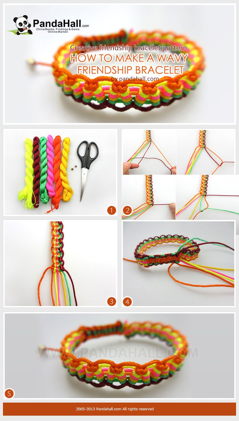 With some strands of string, you can work actually creative friendship bracelet pattern along with the way you knotting. It is an essentially easy-to-follow project for a wavy friendship bracelet from string.