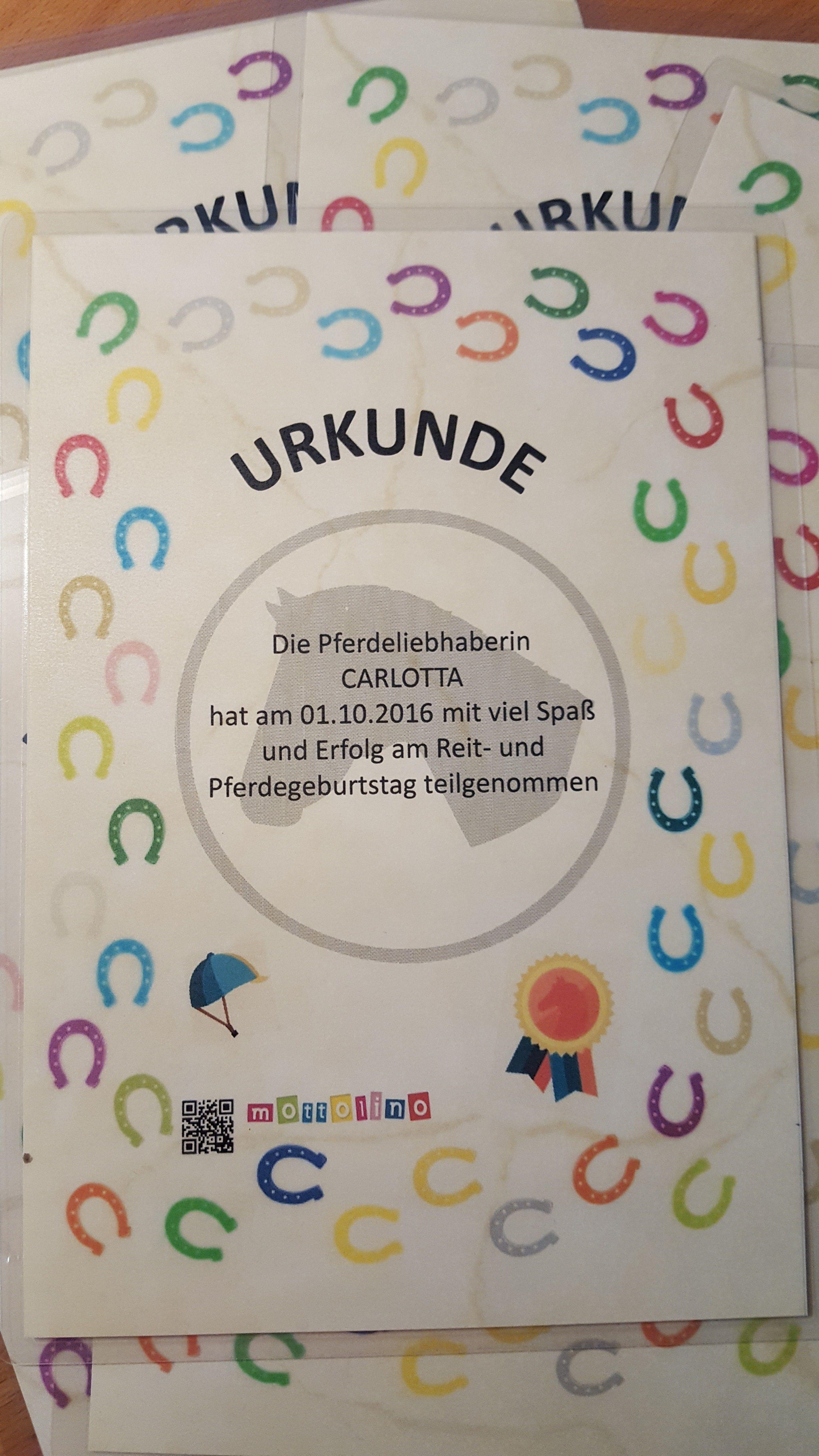 Urkunde Pferdegeburtstag www.mottolino.de   Geburtstagsurkunden ...