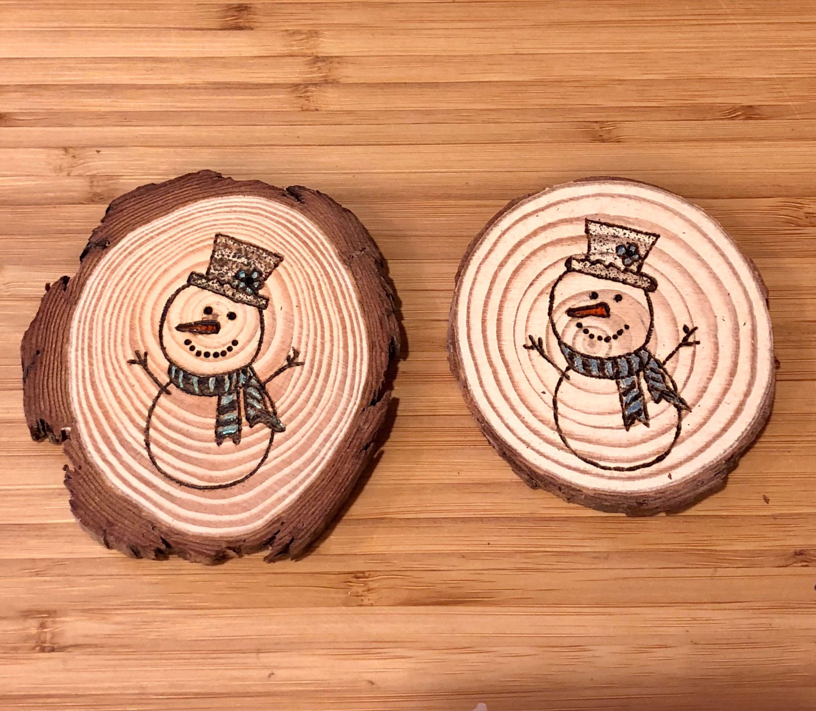 Wood Slice Ornaments Wood Burning Pyrographics Snowman Wood Slice Ornament Craft Sale Christmas Crafts