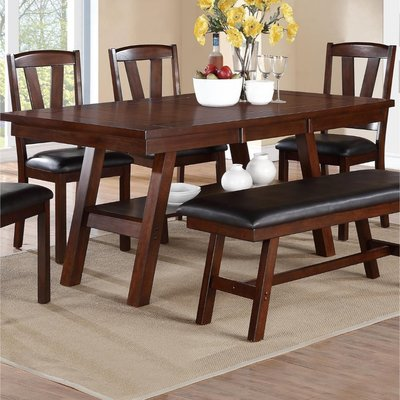Charlton Home Rucker Solid Wood Dining Table Solid Wood Dining