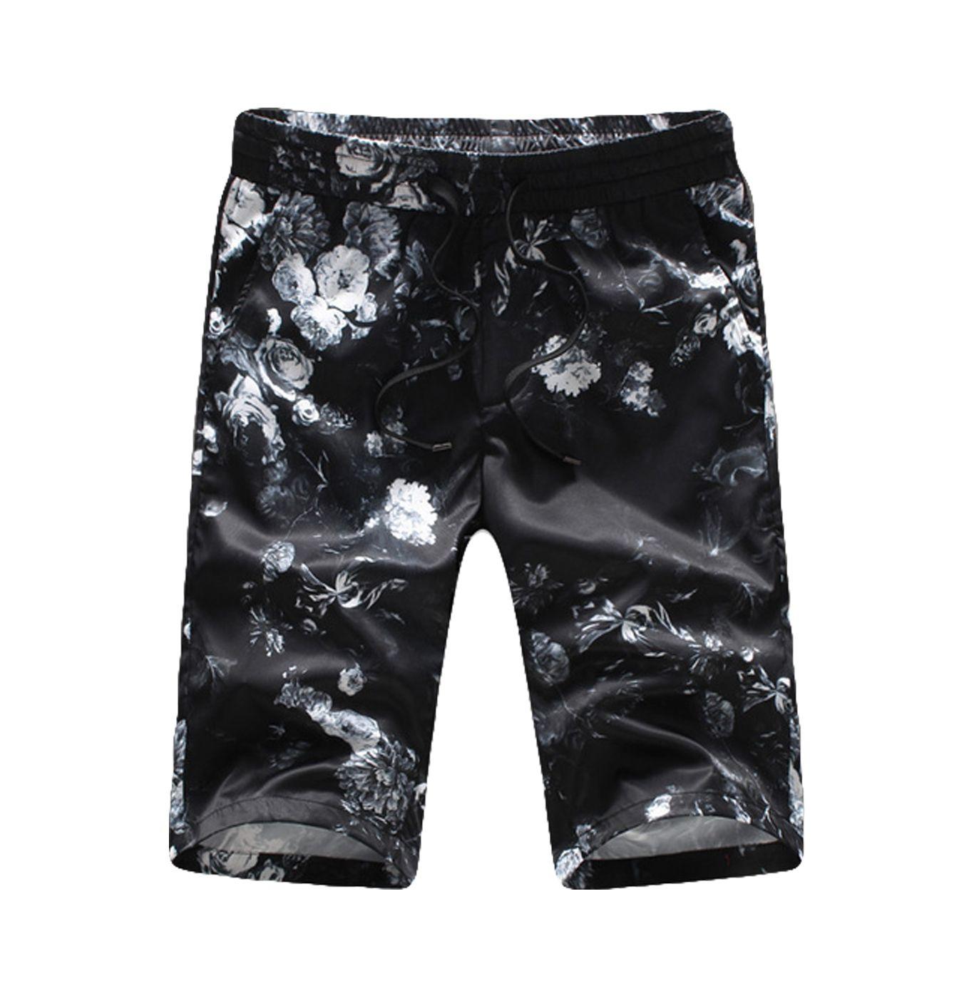 White Black Subtle Floral Design Lightweight Summer Shorts