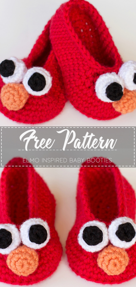 Elmo Inspired Baby Booties – Free Pattern – Free Crochet #craftstosell