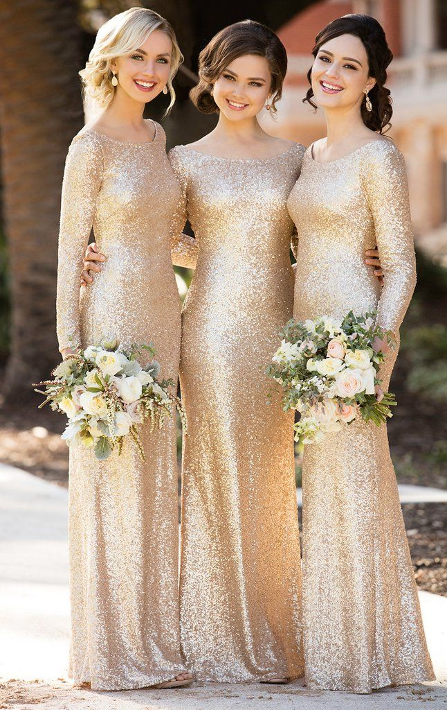 Macloth Long Sleeves Sequin Maxi Bridesmaid Dress Rose Gold Formal Evening Long Sleeve Bridesmaid Dress Champagne Bridesmaid Dresses Sequin Bridesmaid Dresses