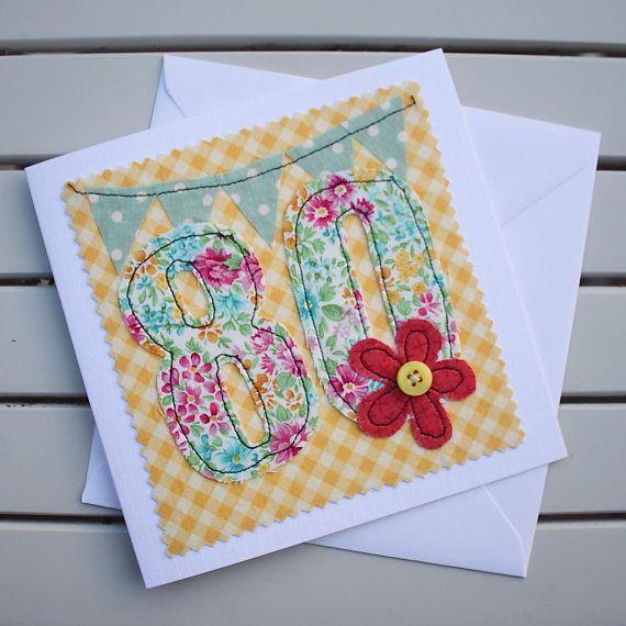 80th Birthday Card Handmade Original Textile Machine Embroidered 80 Personalised Insert 80th Birthday Cards Handmade Birthday Cards Cards Handmade