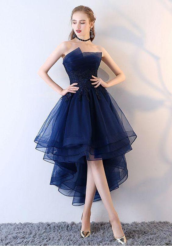 Evening dresses short front long back party gowns lace #shortbacklessdress