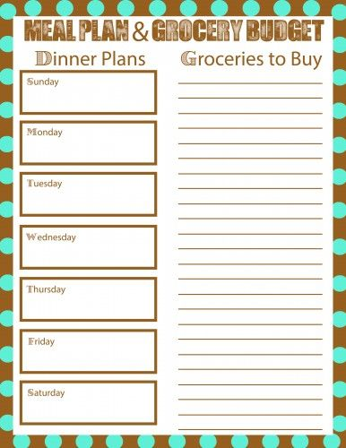 Meal Plan Free Printable Bring Your Grocery Budget Down