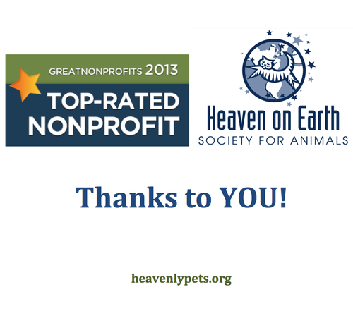 Read our great reviews and add your story!   http://greatnonprofits.org/org/heaven-on-earth-society-for-animals-inc