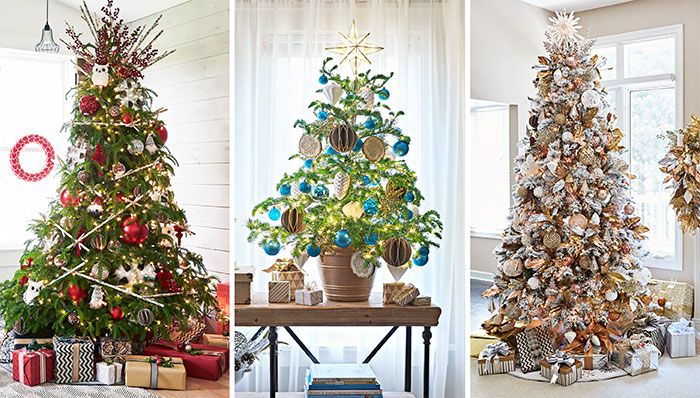 live christmas tree with large scale ornaments and woodland creature ornaments tabletop christmas tree with blue ornaments glittery cardboard look - Live Tabletop Christmas Trees