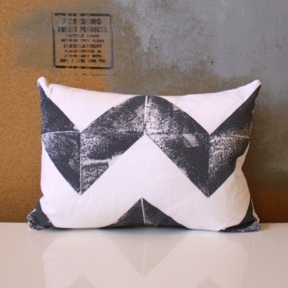Hand Printed Gray and White Chevron Pillow  12 x 16 by NestaHome, $28.00