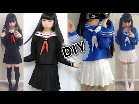 DIY Japanese Anime School Uniform: DIY Easy Long Sleeve Seifuku + ...