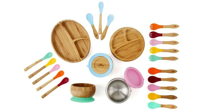 Bamboo Baby Feeding Set 3 pieces Eco Suction Bowl Plate and Spoon Stay Put NEW