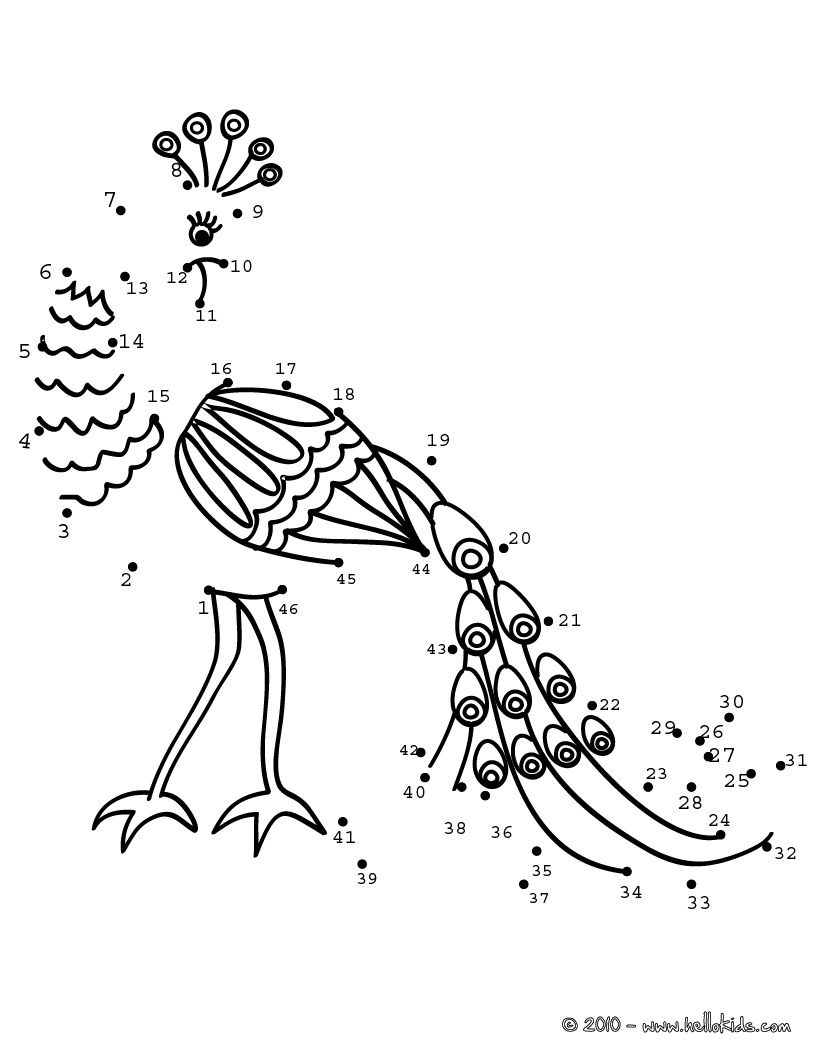 PEACOCK dot to dot game printable