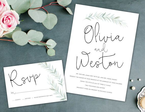 Earthy Wedding Invitation Leaf Wreath By Alexanelsonprints