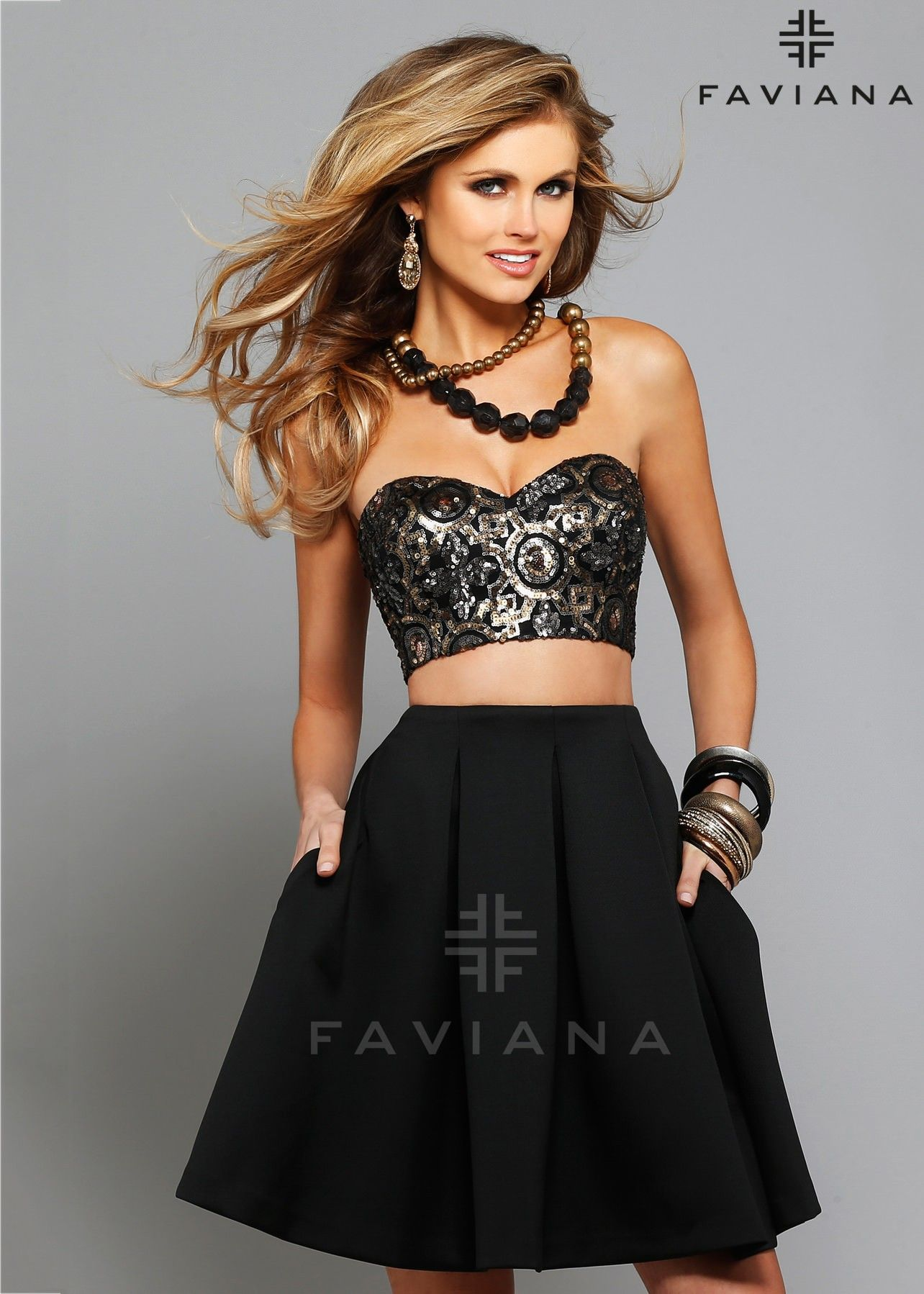 Faviana black gold sequin crop top two piece dress