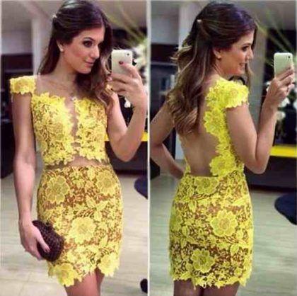 7a683a89222a6 vestido-curto-de-renda-com-tule-amarelo