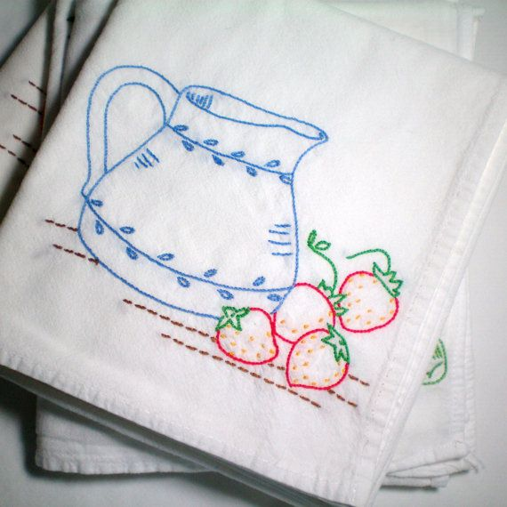 Embroidered Dish Towel Strawberries And Cream Hand By CraveCute